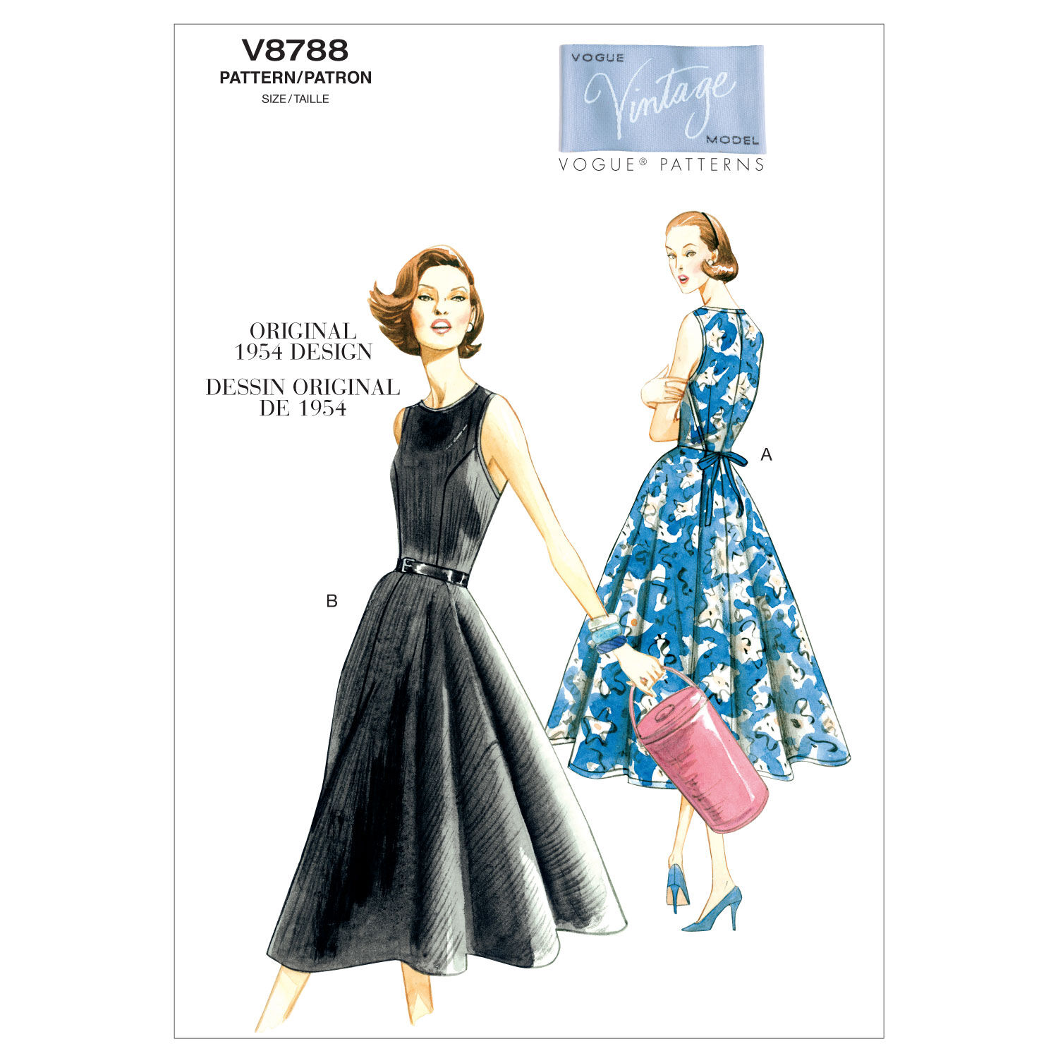 1950s Sewing Patterns | Dresses, Skirts, Tops, Mens 1954 Vogue Patterns Misses Dress - V8788 $16.50 AT vintagedancer.com