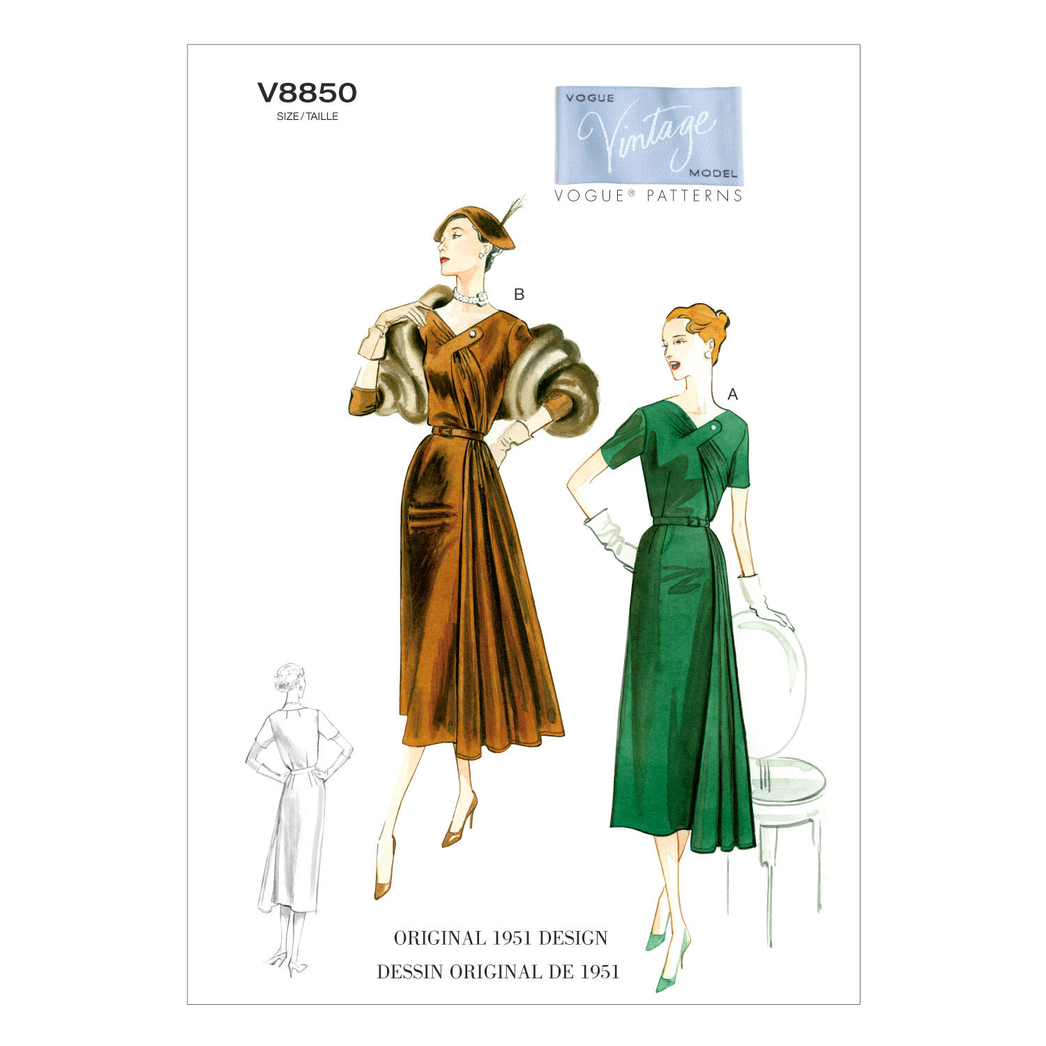 1950s Sewing Patterns | Dresses, Skirts, Tops, Mens 1951 Vogue Patterns Misses Dress - V8850 $16.50 AT vintagedancer.com