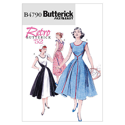 1950s Sewing Patterns | Dresses, Skirts, Tops, Mens Butterick Misses Dress - B4790 $10.17 AT vintagedancer.com