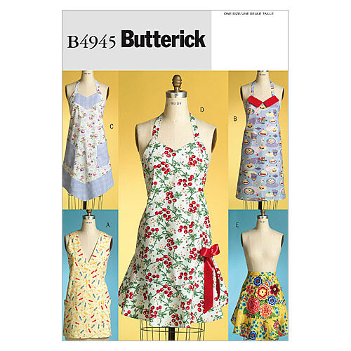 10 Things to Do with Vintage Aprons Butterick Pattern B4945 Misses Aprons $9.57 AT vintagedancer.com