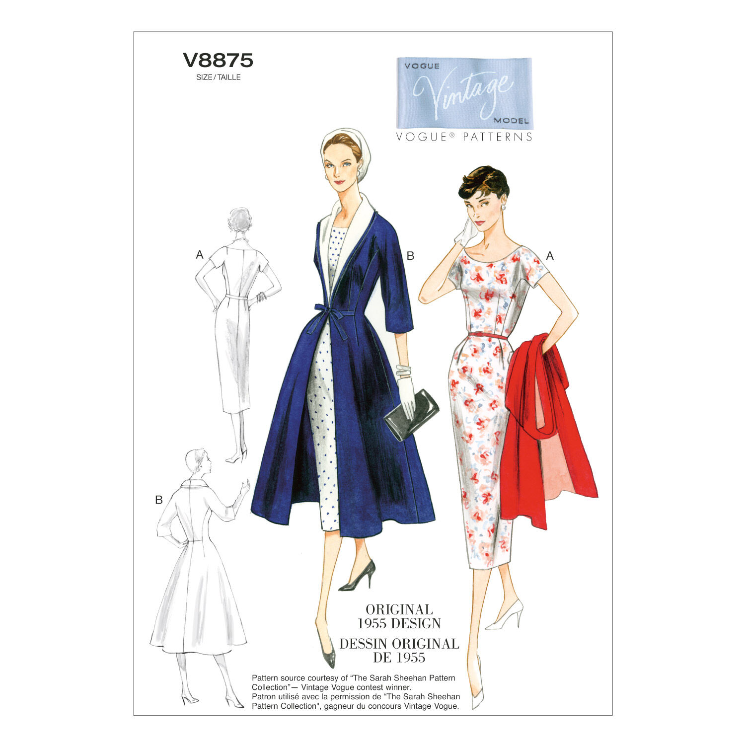 1950s Sewing Patterns | Dresses, Skirts, Tops, Mens Vogue Patterns Misses Dress - V8875 $18.00 AT vintagedancer.com