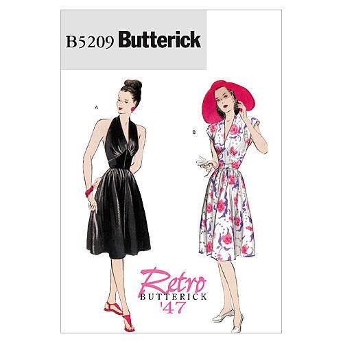 1940s Sewing Patterns – Dresses, Overalls, Lingerie etc Butterick Misses Dress - B5209 $10.17 AT vintagedancer.com