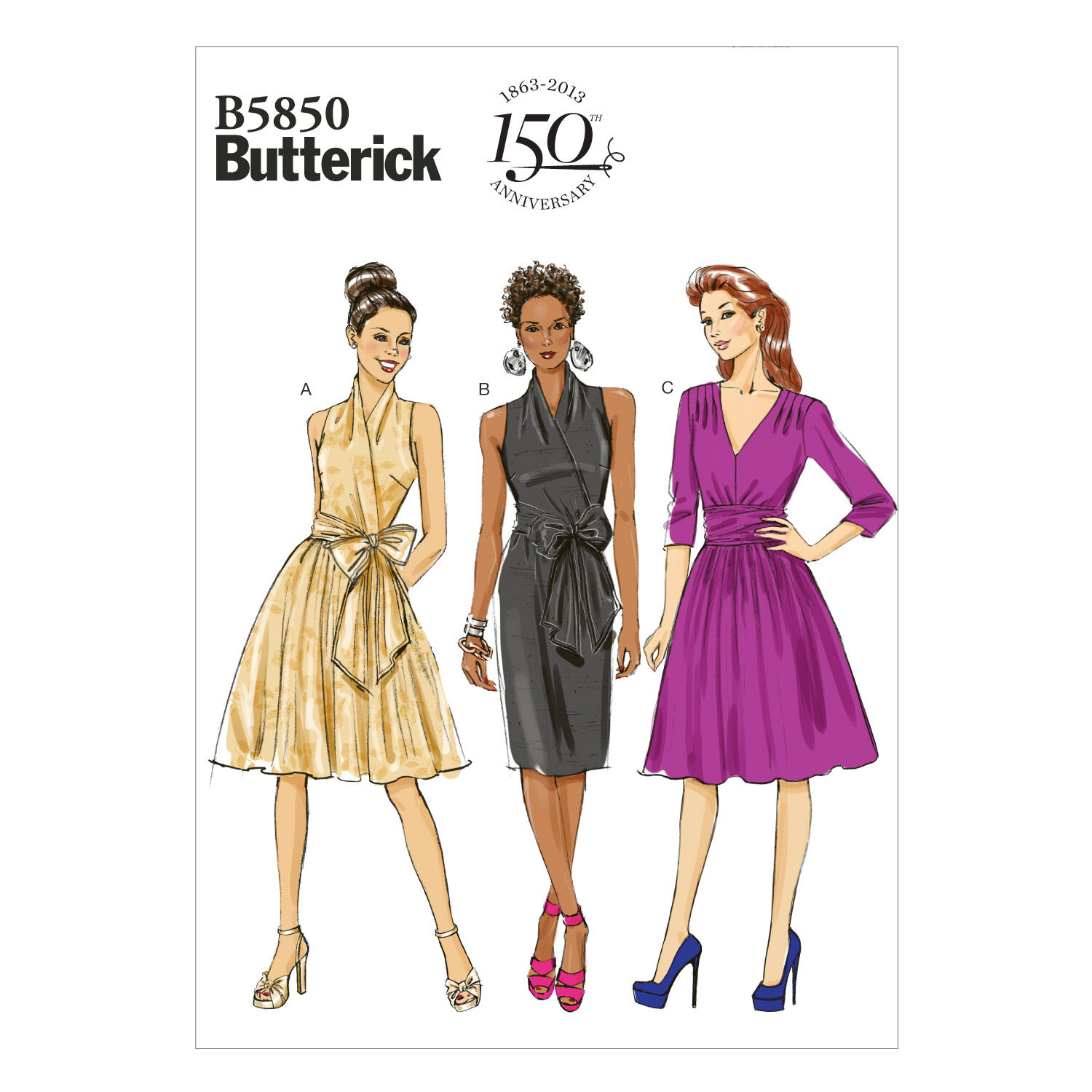 1950s Sewing Patterns | Dresses, Skirts, Tops, Mens Butterick Misses Dress - B5850 $11.37 AT vintagedancer.com