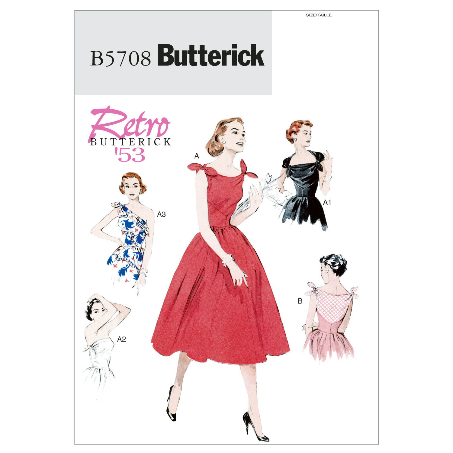 1950s Sewing Patterns | Dresses, Skirts, Tops, Mens 1953 Butterick Misses Dress - B5708 $11.97 AT vintagedancer.com