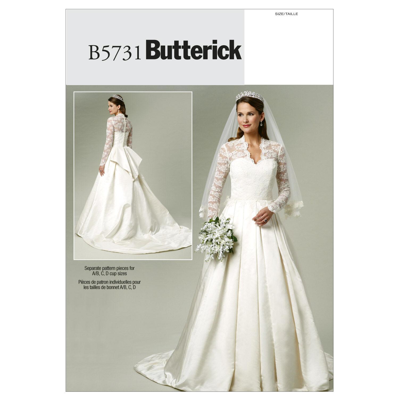 1940s Style Wedding Dresses | Classic Wedding Dresses Butterick Misses Bridal - B5731 $11.97 AT vintagedancer.com