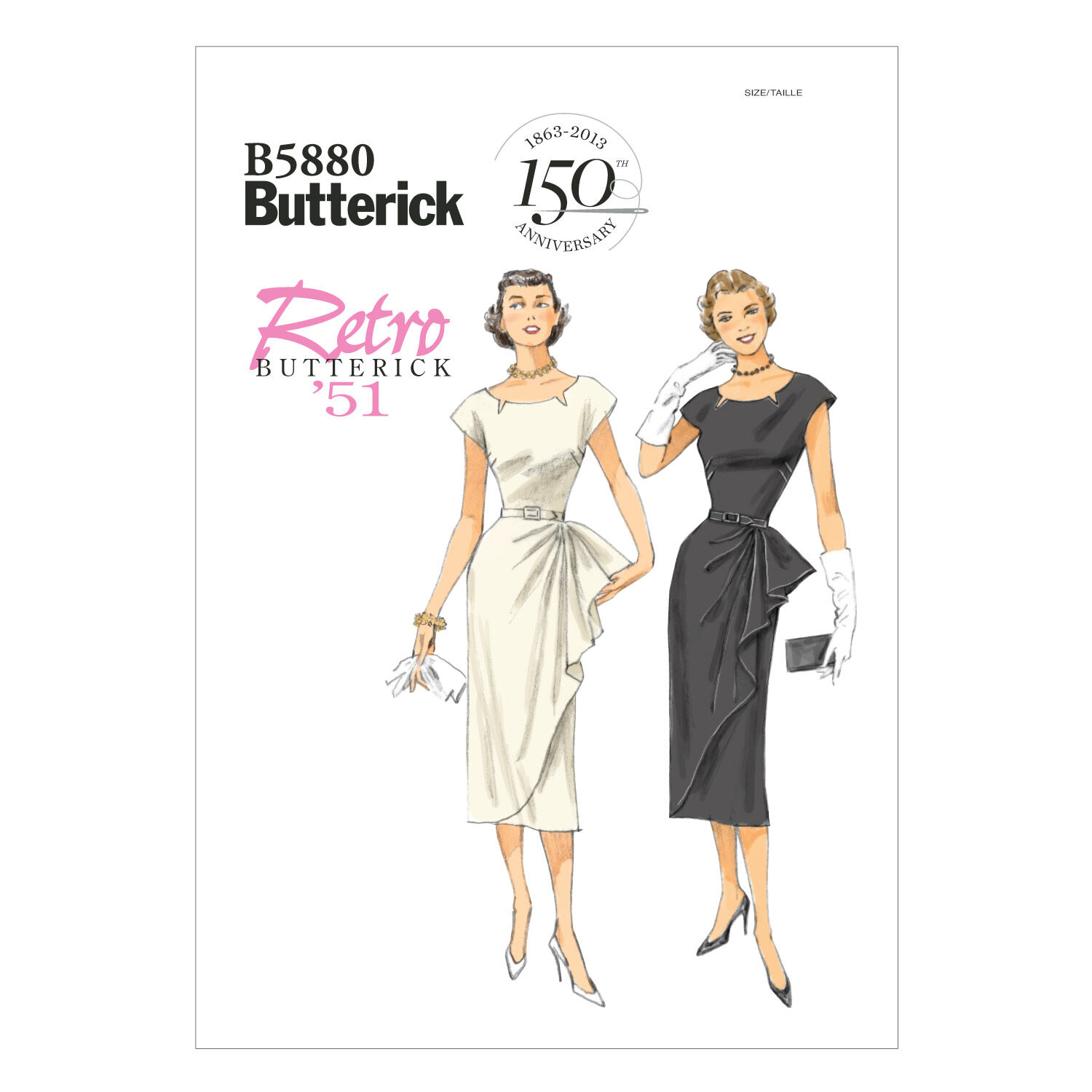 1950s Sewing Patterns | Dresses, Skirts, Tops, Mens 1951 Butterick Misses Dress - B5880 $11.97 AT vintagedancer.com