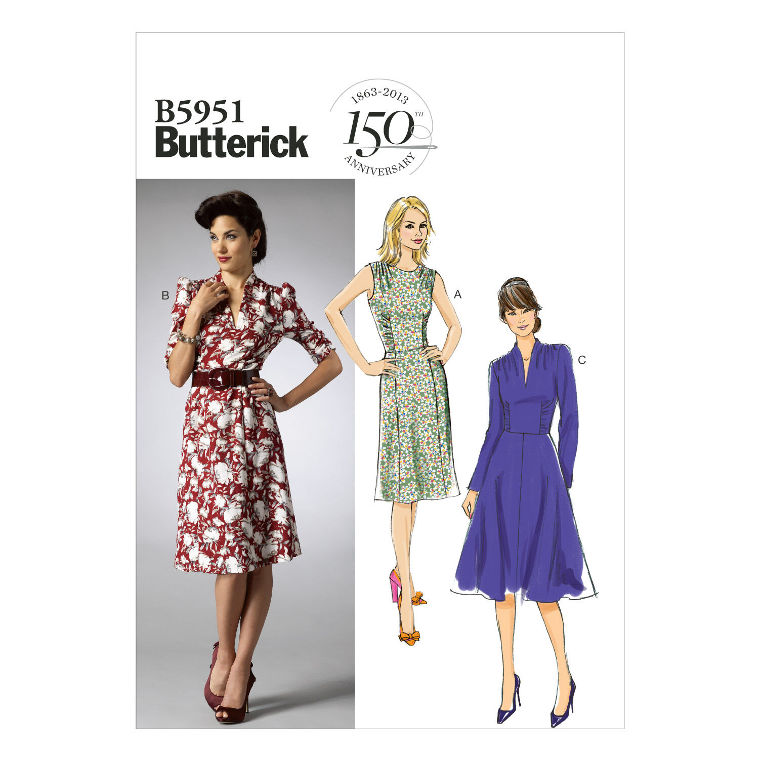 1940s Fabrics and Colors in Fashion Butterick Misses Dress - B5951 $11.37 AT vintagedancer.com