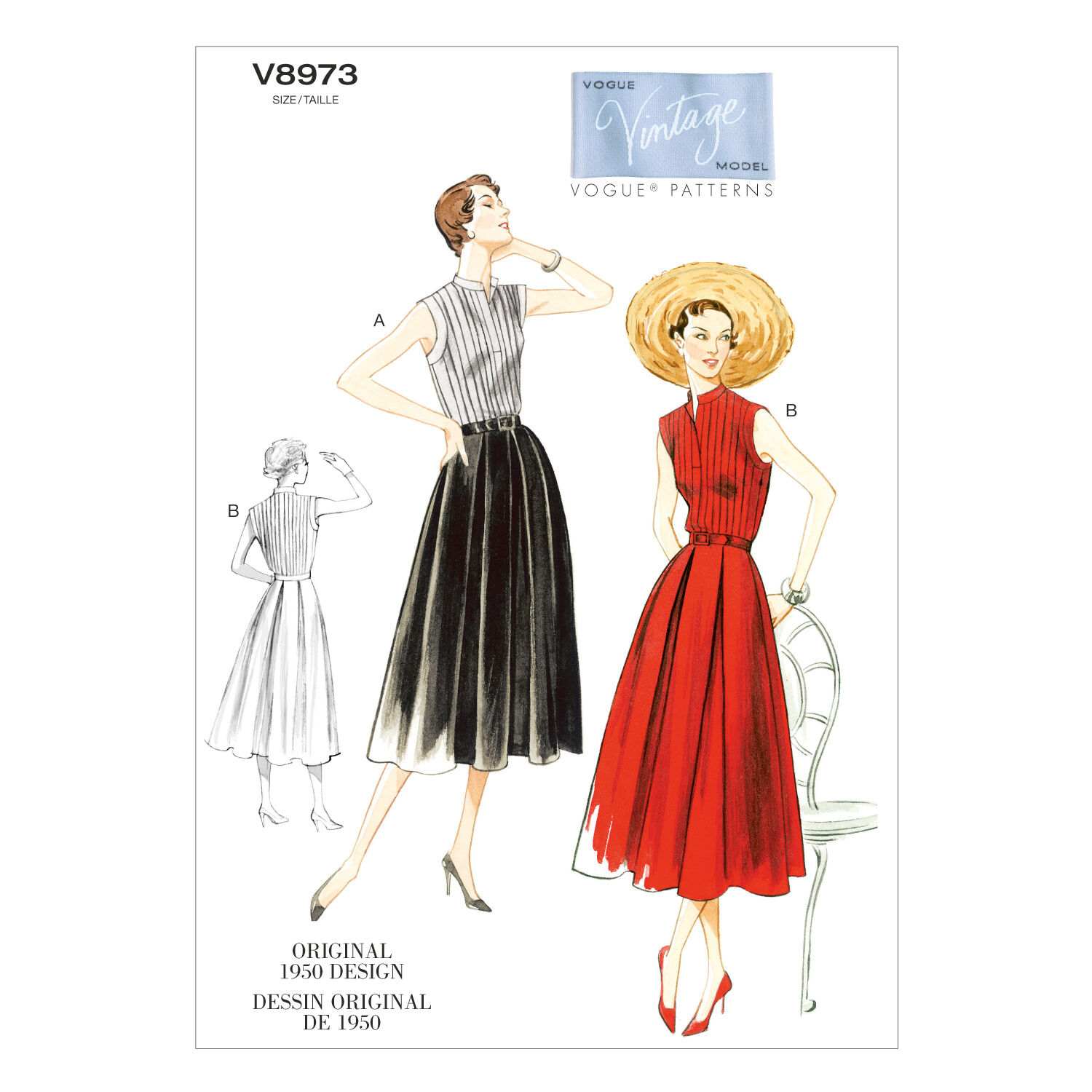 1950s Sewing Patterns | Dresses, Skirts, Tops, Mens 1950 Vogue Patterns Misses Dress - V8973 $18.00 AT vintagedancer.com