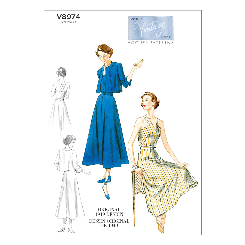 1940s Sewing Patterns – Dresses, Overalls, Lingerie etc 1949 Vogue Patterns Misses Dress - V8974 $18.00 AT vintagedancer.com