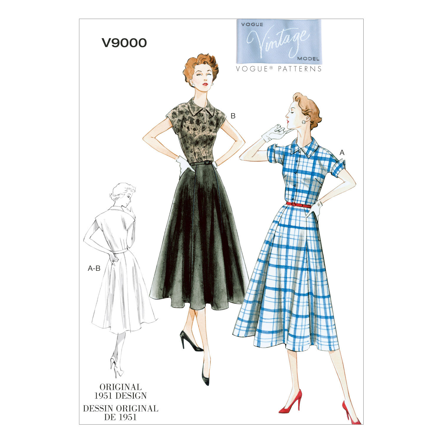 1950s Sewing Patterns | Dresses, Skirts, Tops, Mens 1951 Vogue Patterns Misses Dress - V9000 $18.00 AT vintagedancer.com