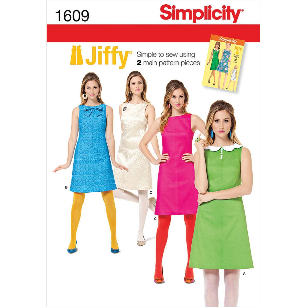 1960s – 70s Sewing Patterns- Dresses, Tops, Pants, Mens Simplicity Pattern 1609H5 6 - 8 - 10 - 12 - - Simplicity Misses Dr $10.77 AT vintagedancer.com