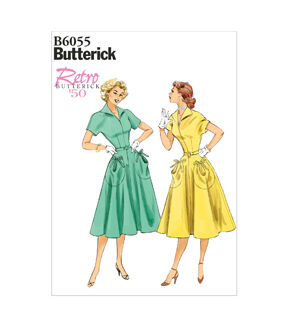 1950s Sewing Patterns | Dresses, Skirts, Tops, Mens Butterick Misses Dress - B6055 $11.97 AT vintagedancer.com