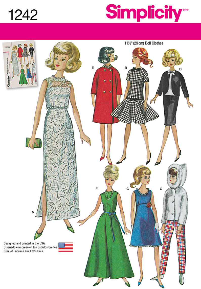 1960s – 70s Sewing Patterns- Dresses, Tops, Pants, Mens Simplicity Pattern 1242OS One Size - Doll Clothes $11.37 AT vintagedancer.com