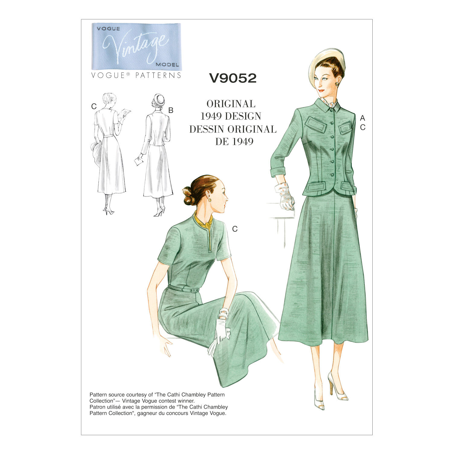 1950s Sewing Patterns | Dresses, Skirts, Tops, Mens Vogue Patterns Misses Dress - V9052 $18.00 AT vintagedancer.com