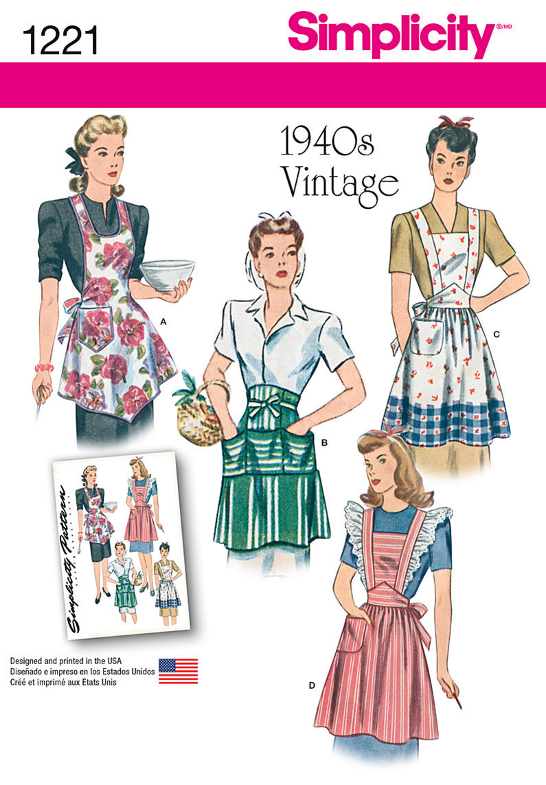 10 Things to Do with Vintage Aprons Simplicity Pattern 1221A Misses Aprons - Size S - M - L $10.77 AT vintagedancer.com