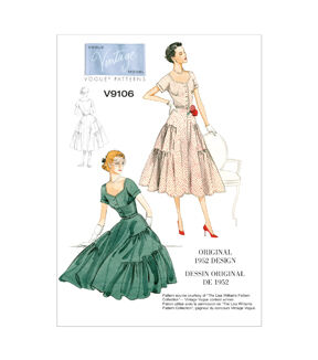 1950s Sewing Patterns | Dresses, Skirts, Tops, Mens Vogue Patterns Misses Dress - V9106 $18.00 AT vintagedancer.com