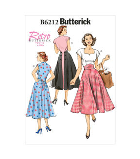 1950s Sewing Patterns | Dresses, Skirts, Tops, Mens Butterick Misses Dress - B6212 $11.97 AT vintagedancer.com