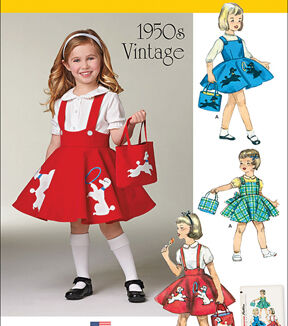 Kids 1950s Clothing & Costumes: Girls, Boys, Toddlers Simplicity Patterns Us1075A - Simplicity ChildS Jumper Skirt And Bag - 3 - 4 - 5 - 6 - 7 - 8 $9.57 AT vintagedancer.com