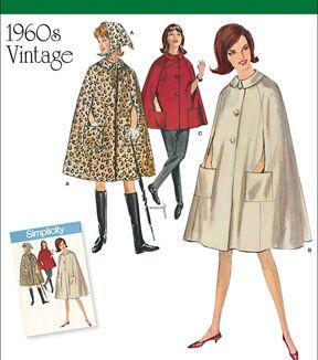 1960s – 70s Sewing Patterns- Dresses, Tops, Pants, Mens Simplicity Patterns Us8017H5 - Simplicity Misses Vintage 1960S Cape In Two Lengths - 6 - 8 - 10 - 12 - 14 $11.97 AT vintagedancer.com