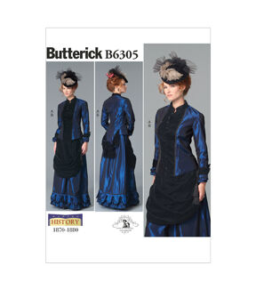 Steampunk Sewing Patterns- Dresses, Coats, Plus Sizes, Men's Patterns Butterick - Pattern B6305 - Misses Costume - Victorian Top and Drape - Front Skirt - Sizes 8-10-12-14-16 - Patterns - At JOANN Fabrics  Crafts $11.97 AT vintagedancer.com
