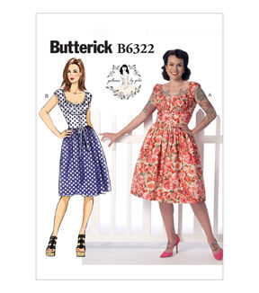 1950s Sewing Patterns | Dresses, Skirts, Tops, Mens Butterick Misses Dress - B6322 $11.97 AT vintagedancer.com