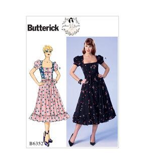 1940s Sewing Patterns – Dresses, Overalls, Lingerie etc Butterick Misses Dress - B6352 $11.97 AT vintagedancer.com