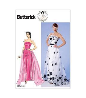 1950s Sewing Patterns   Dresses, Skirts, Tops, Mens Butterick Pattern B6353 Misses Dress Detachable Train  Belt - Size 6 - 14 $11.97 AT vintagedancer.com