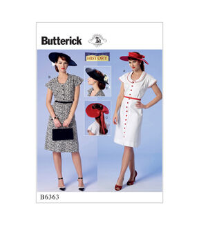 1940s Fabrics and Colors in Fashion Butterick Pattern B6363 Misses Sleeve Dresses  Sun Hats - Size 6 - 14 $11.97 AT vintagedancer.com