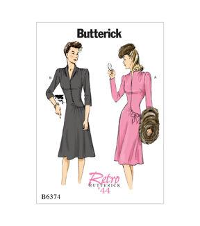 1940s Sewing Patterns – Dresses, Overalls, Lingerie etc Butterick Pattern B6374 Misses Swan - Neck or Collar Dresses - Size 14 - 22 $11.97 AT vintagedancer.com
