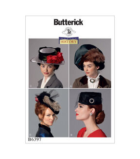 Edwardian Sewing Patterns- Dresses, Skirts, Blouses, Costumes Butterick Pattern B6397 Misses Hats in Four Styles $11.97 AT vintagedancer.com