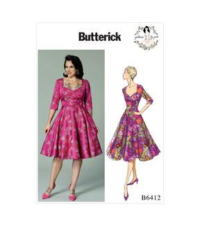 1950s Sewing Patterns   Dresses, Skirts, Tops, Mens Butterick Pattern B6412 Misses Full - Skirted Dress - Size 6 - 8 - 10 - 12 - 14 $11.97 AT vintagedancer.com