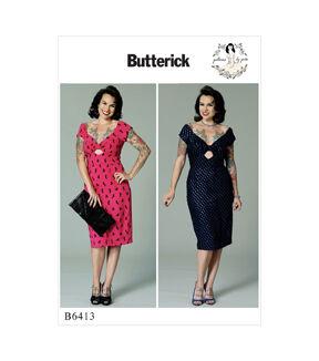 1950s Sewing Patterns   Dresses, Skirts, Tops, Mens Butterick Pattern B6413 Misses Gathered - Front Keyhole Dress - Size 6 - 14 $11.97 AT vintagedancer.com