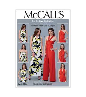 1960s – 70s Sewing Patterns- Dresses, Tops, Pants, Mens McCalls Pattern M7384 Misses Tie Options Dress  Jumpsuit - Size 12 - 18 $11.97 AT vintagedancer.com