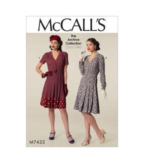 1940s Sewing Patterns – Dresses, Overalls, Lingerie etc McCalls Pattern M7433 Misses Shirtdresses  Belt $11.97 AT vintagedancer.com