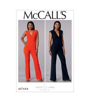 1960s – 70s Sewing Patterns- Dresses, Tops, Pants, Mens McCalls Pattern M7444 Misses Deep - V Jumpsuit - Size 14 - 16 - 18 - 20 - 22 $11.97 AT vintagedancer.com