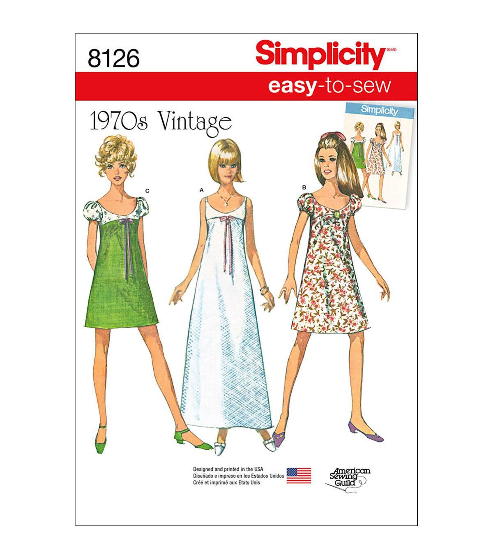 1960s – 70s Sewing Patterns- Dresses, Tops, Pants, Mens Simplicity Pattern 8126 Misses Easy - to - Sew Vintage Dress - Size H5 6 - 14 $11.37 AT vintagedancer.com