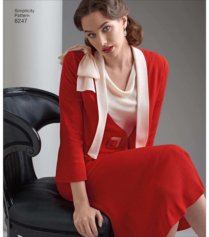 1930s Sewing Patterns- Dresses, Pants, Tops Simplicity Pattern 8247 Misses 1930s Dress  Jacket - Size H5 6 - 14 $12.57 AT vintagedancer.com