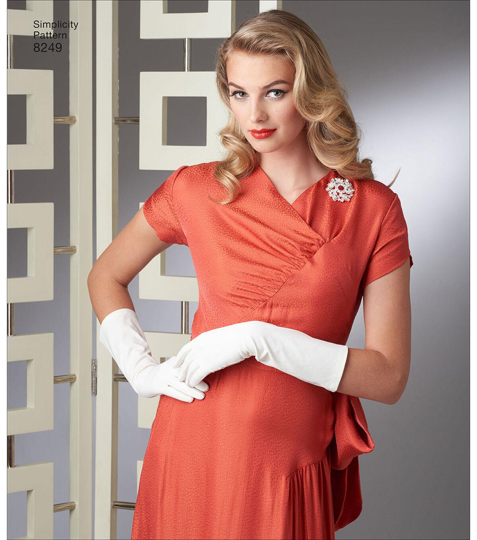 1930s Vintage Dresses, Clothing & Patterns Links Simplicity Pattern 8249 Misses Vintage Gown  Dress - Size H5 6 - 14 $12.57 AT vintagedancer.com