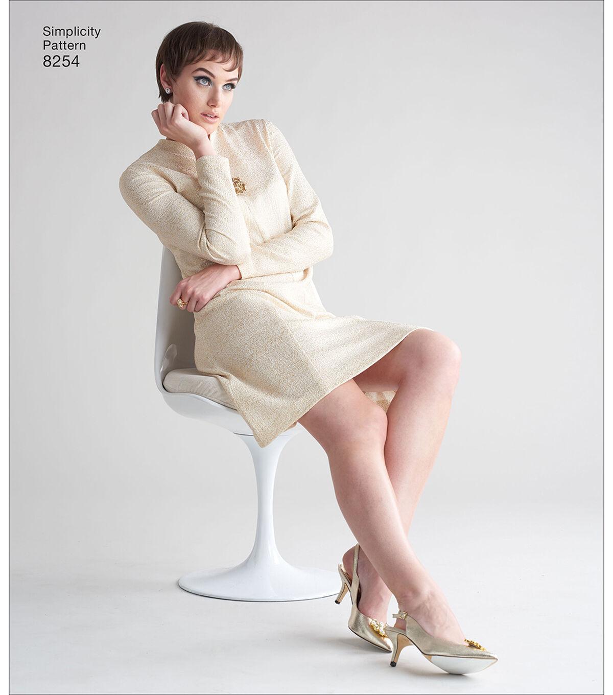 1960s – 70s Sewing Patterns- Dresses, Tops, Pants, Mens Simplicity Pattern 8254 Misses  Plus Size Dress - Size BB 20W - 28W $12.57 AT vintagedancer.com