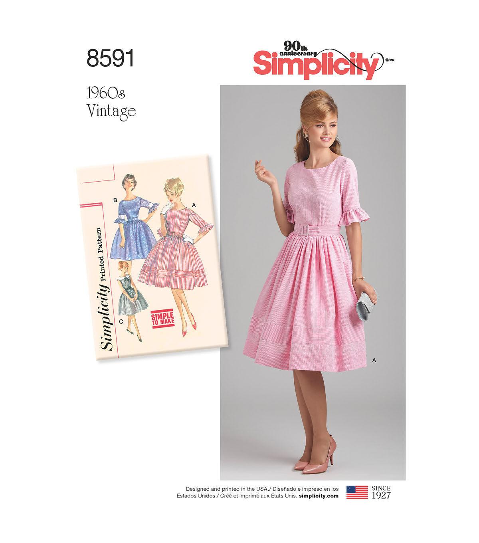 1960s – 70s Sewing Patterns- Dresses, Tops, Pants, Mens Simplicity Pattern 8591 Misses  Petites Vintage Dress - Size P5 12 - 20 $15.59 AT vintagedancer.com