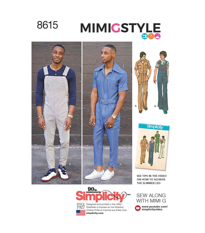 Men's Vintage Reproduction Sewing Patterns Simplicity Pattern 8615 Mens Jumpsuit  Overalls - Size AA 34 - 42 $15.59 AT vintagedancer.com