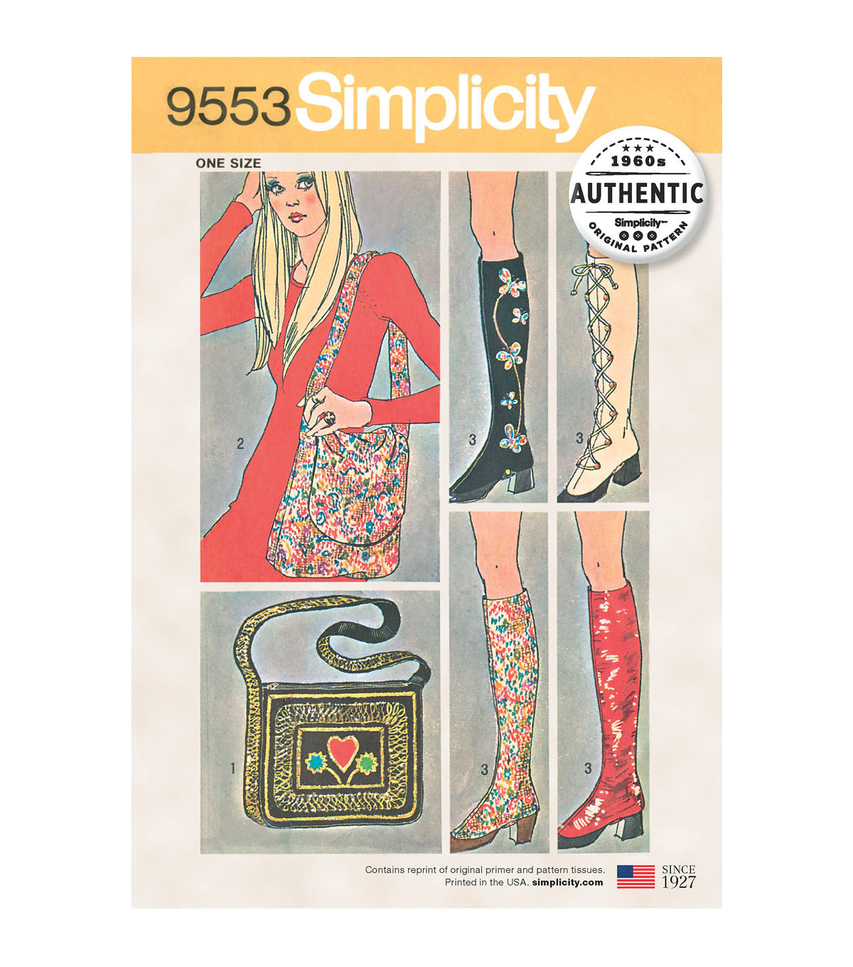 1960s – 70s Sewing Patterns- Dresses, Tops, Pants, Mens Simplicity Pattern 9553 Spats  Two Bags $15.59 AT vintagedancer.com