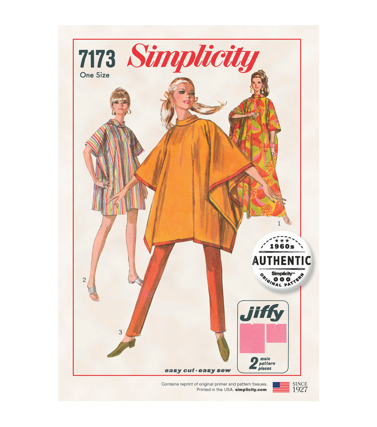 1960s – 70s Sewing Patterns- Dresses, Tops, Pants, Mens Simplicity Pattern 7173 Misses Jiffy Poncho $15.59 AT vintagedancer.com