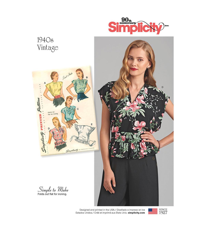 1940s Sewing Patterns – Dresses, Overalls, Lingerie etc Simplicity Pattern 8593 Misses Vintage Poncho Blouses - Size A S - M - L $15.59 AT vintagedancer.com