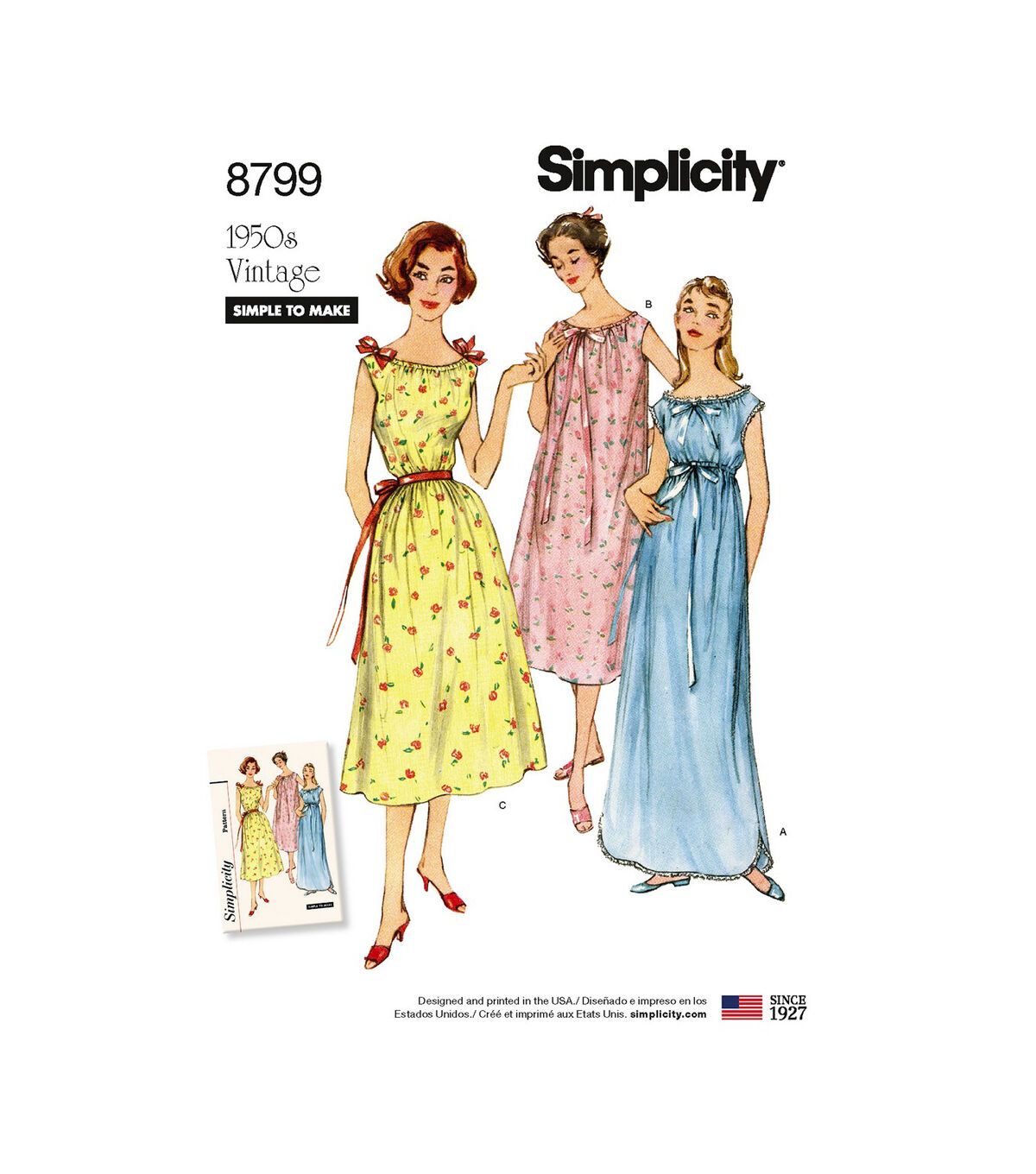 1950s Sewing Patterns | Dresses, Skirts, Tops, Mens Simplicity Pattern 8799 Misses Vintage Nightgowns - Size A XS - S - M - L - XL $13.77 AT vintagedancer.com
