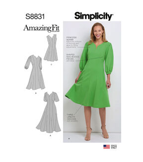 1960s – 70s Sewing Patterns- Dresses, Tops, Pants, Mens Simplicity Pattern S8831 Misses  Womens Dress - Size BB 20W - 28W $13.17 AT vintagedancer.com