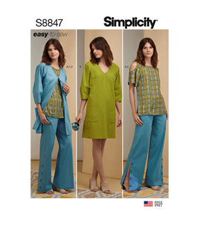 1960s – 70s Sewing Patterns- Dresses, Tops, Pants, Mens Simplicity Pattern S8847 Misses  Miss Petite Apparel - Size U5 16 - 24 $12.57 AT vintagedancer.com