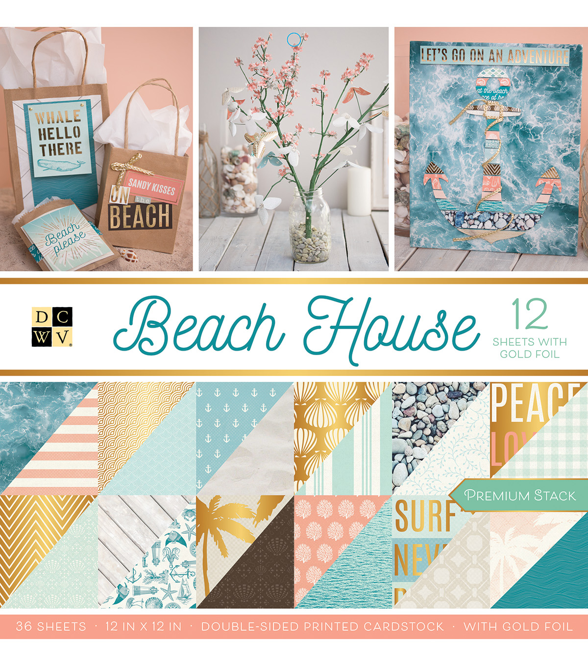"DCWV 12""x12"" Beach House Premium Printed Cardstock Stack"
