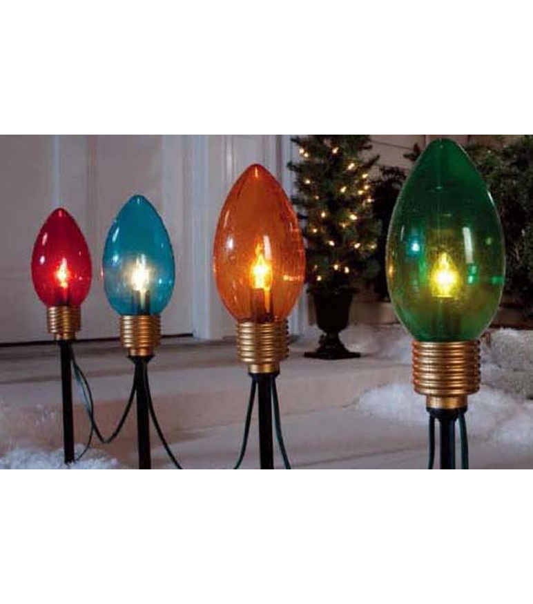 Maker's Holiday 4 Pc Jumbo Bulb Pathway Lights                      Maker's Holiday 4 Pc Jumbo Bulb Pathway Lights by Maker's Holiday