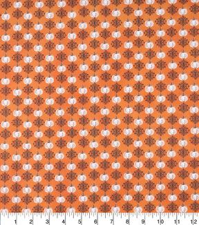 Halloween Cotton Fabric Haunting Pumpkins On Orange                      Halloween Cotton Fabric Haunting Pumpkins On Orange by Joann